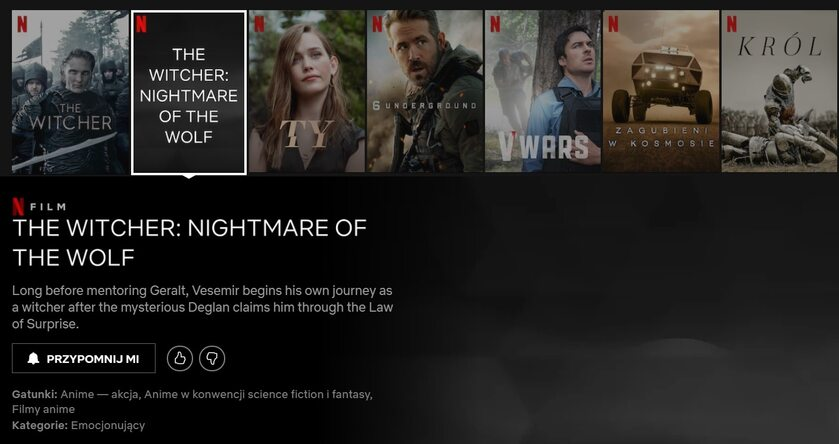 """Opis filmu """"The Witcher: Nightmare of the Wolf"""""""