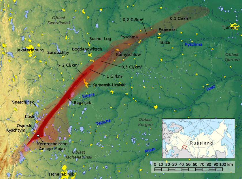 Przebieg trasy radioaktywnej chmury po katastrofie