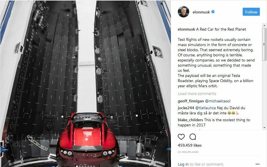 Tesla Roadster Elona Muska gotowy do lotu na orbitę Marsa