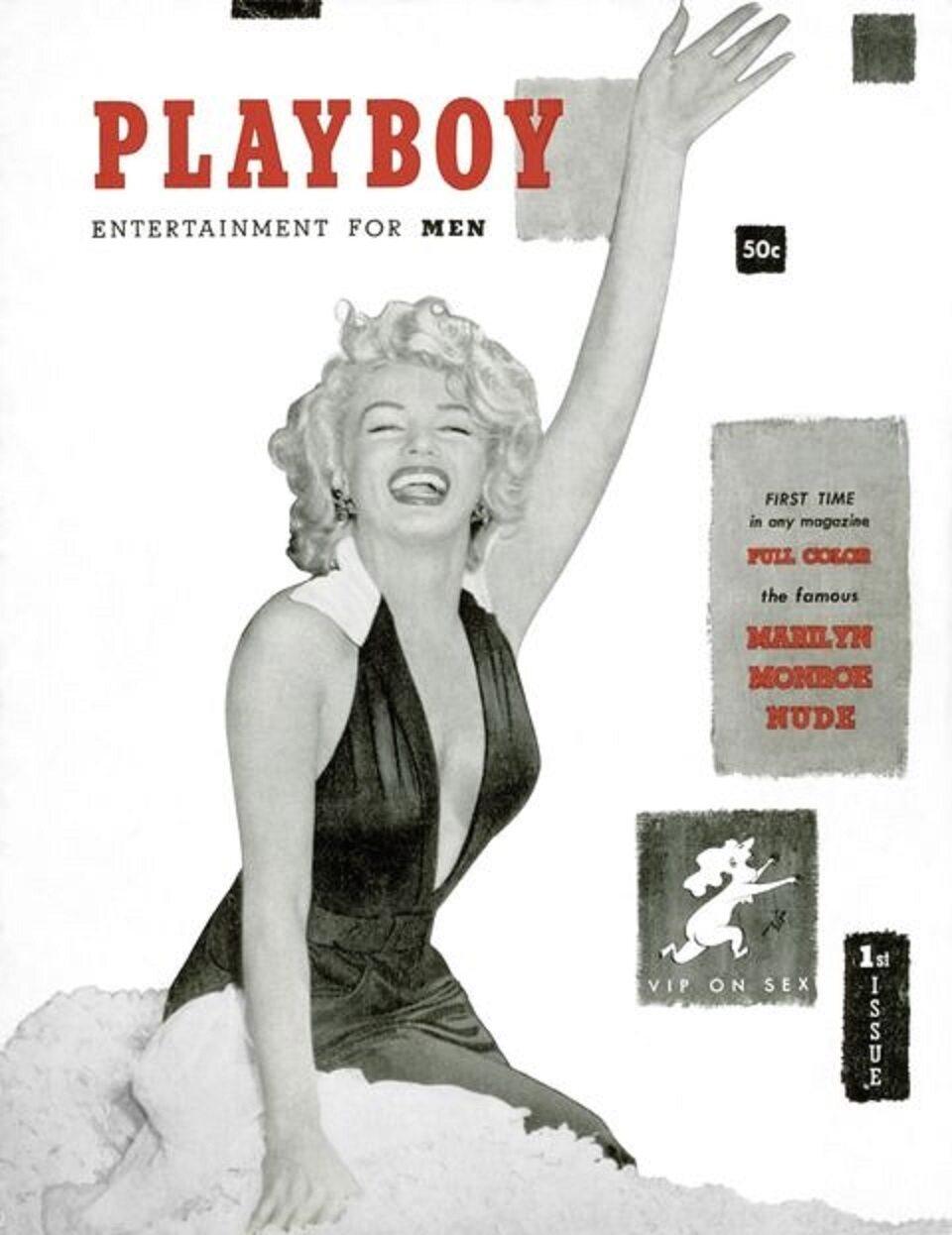 """Pierwsza okładka """"Playboya"""" z grudnia 1953 roku Okładkę ze zdjęciem Marilyn Monroe miał zaprojektować sam Hugh Hefner w kuchni swojego mieszkania w Chicago. Sprzedano ponad 51 tysiące jego kopii."""