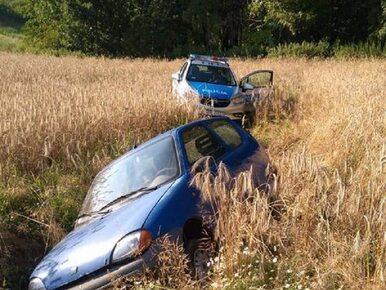 Brawurowa ucieczka Fiatem Seicento. Pijany kierowca wylądował w polu