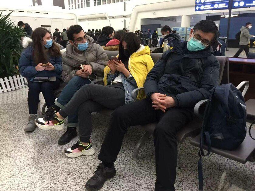 Turyści w Wuhan