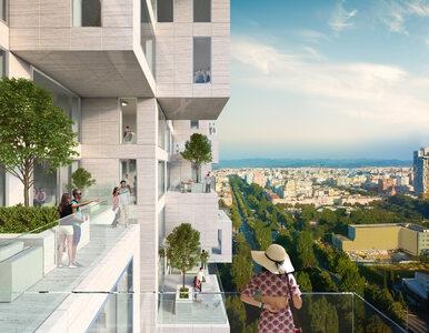 Najwyższy budynek w Albanii z pikselową mapą kraju na fasadzie