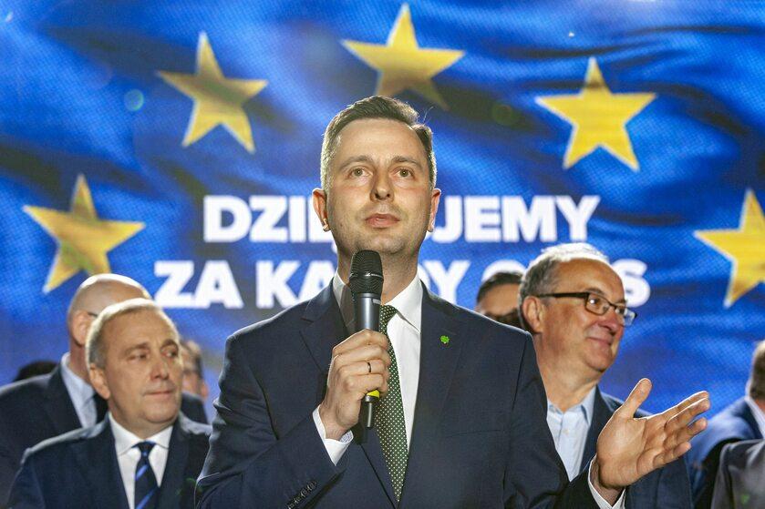 Władysław Kosiniak-Kamysz podczas wieczoru wyborczego Koalicji Europejskiej