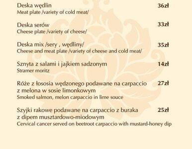 Poznańska restauracja miała w menu... raka szyjki macicy