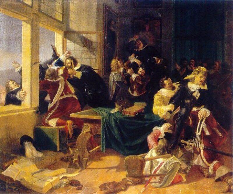 Defenestracja praska (1618) na obrazie Karela Svobody