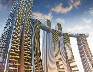 Projekt wieżowców ze szklanym korytarzem w Chongqing w Chinach