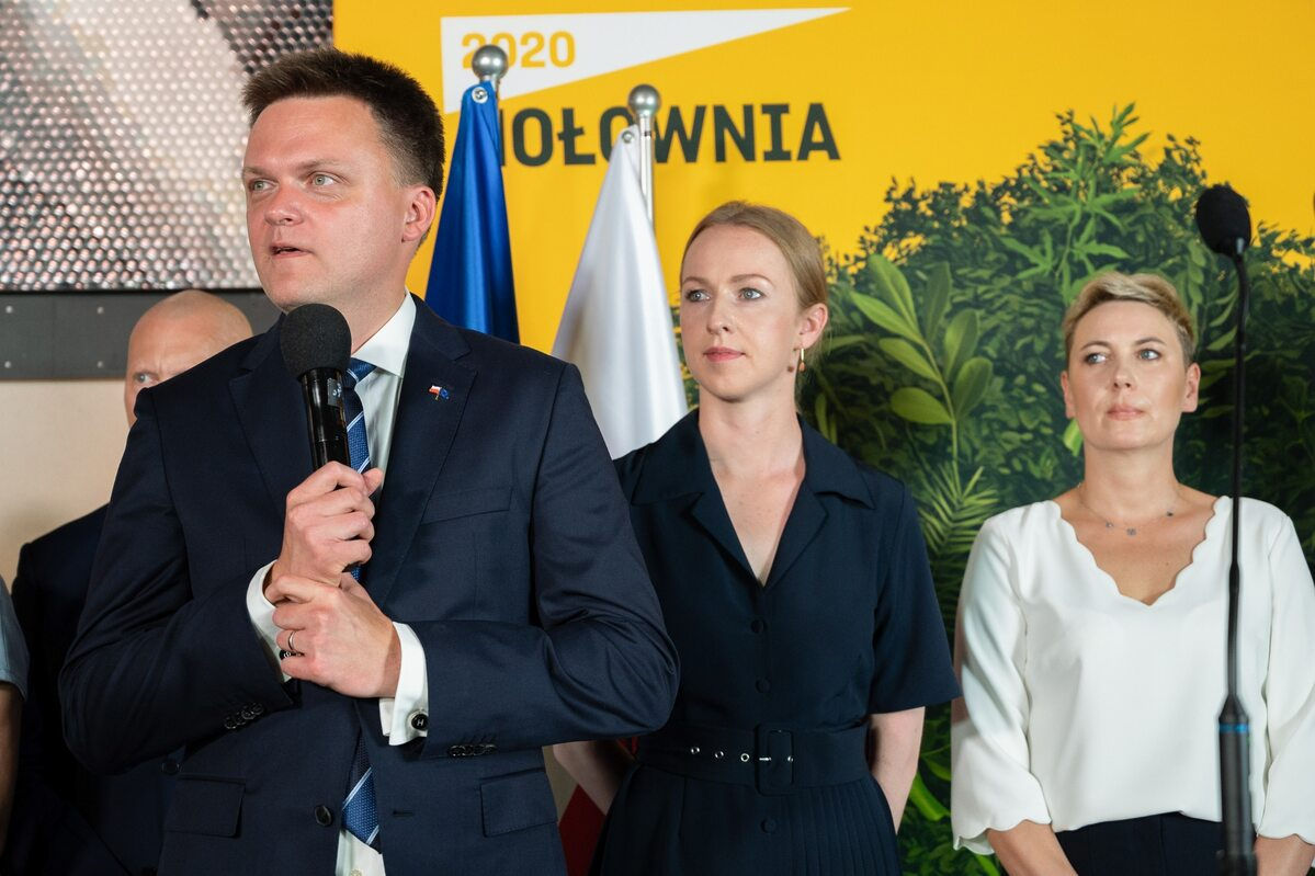 Wieczór wyborczy w sztabie Szymona Hołowni