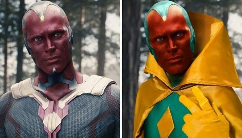 Vision (po lewej w filmie, po prawej zgodnie z komiksem)